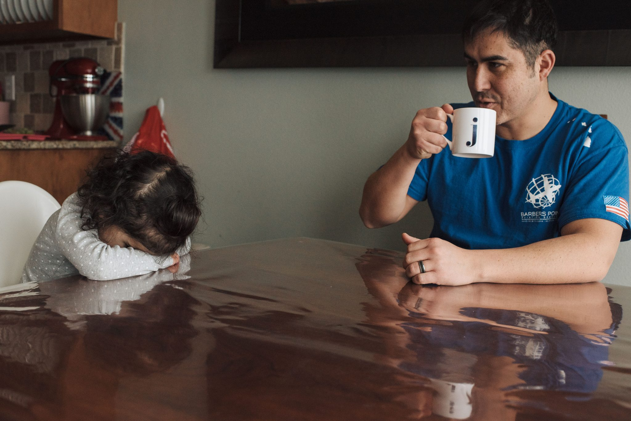 toddler and dad with coffee