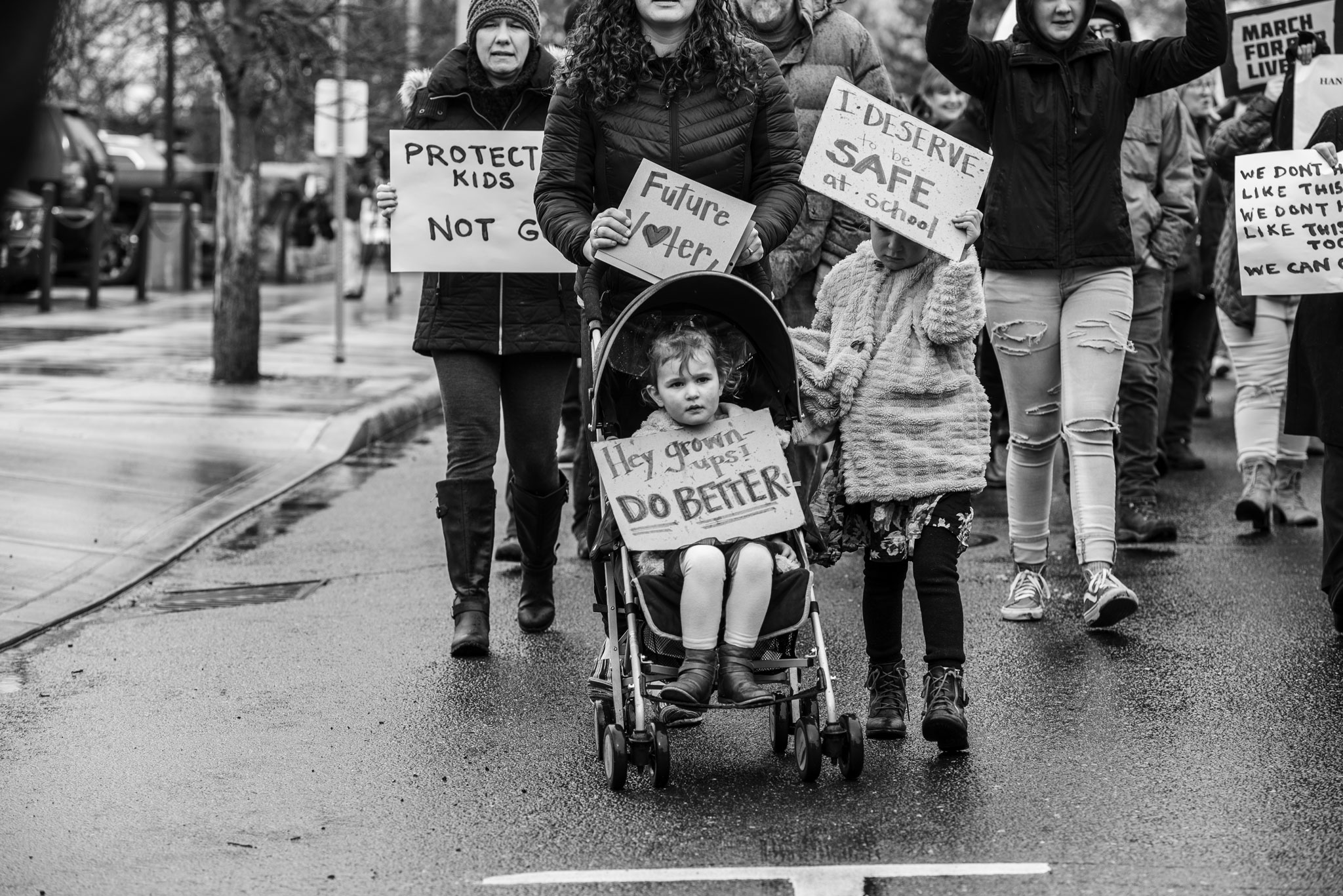 little family marching