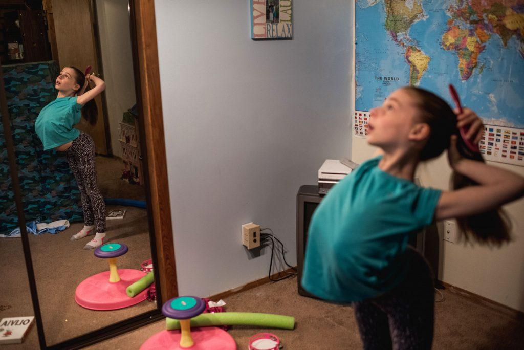 big sister doing ballet