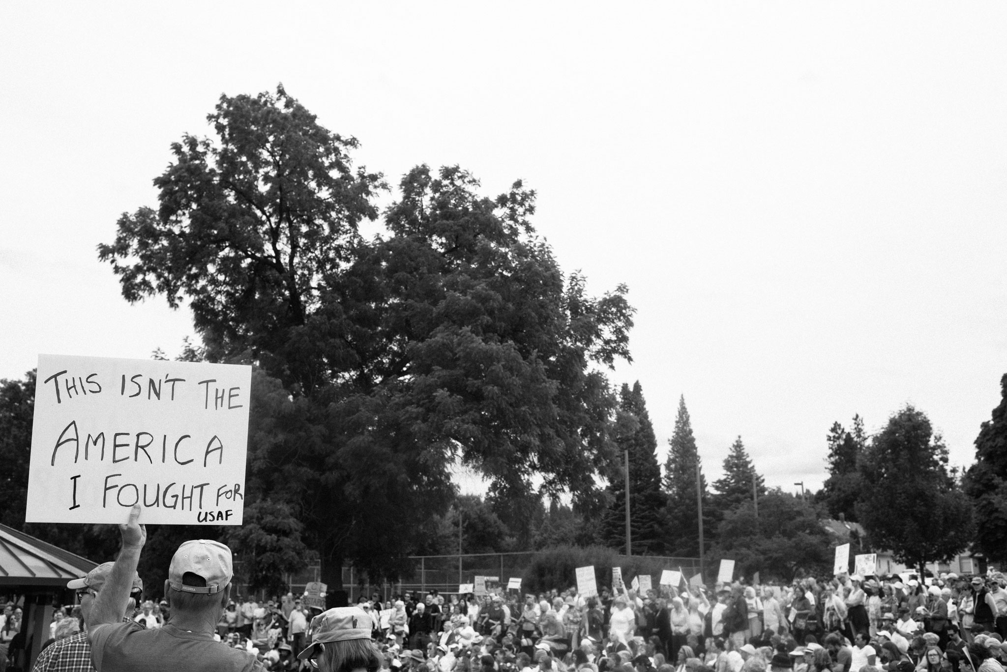 """""""this isn't the america I fought for"""" sign"""