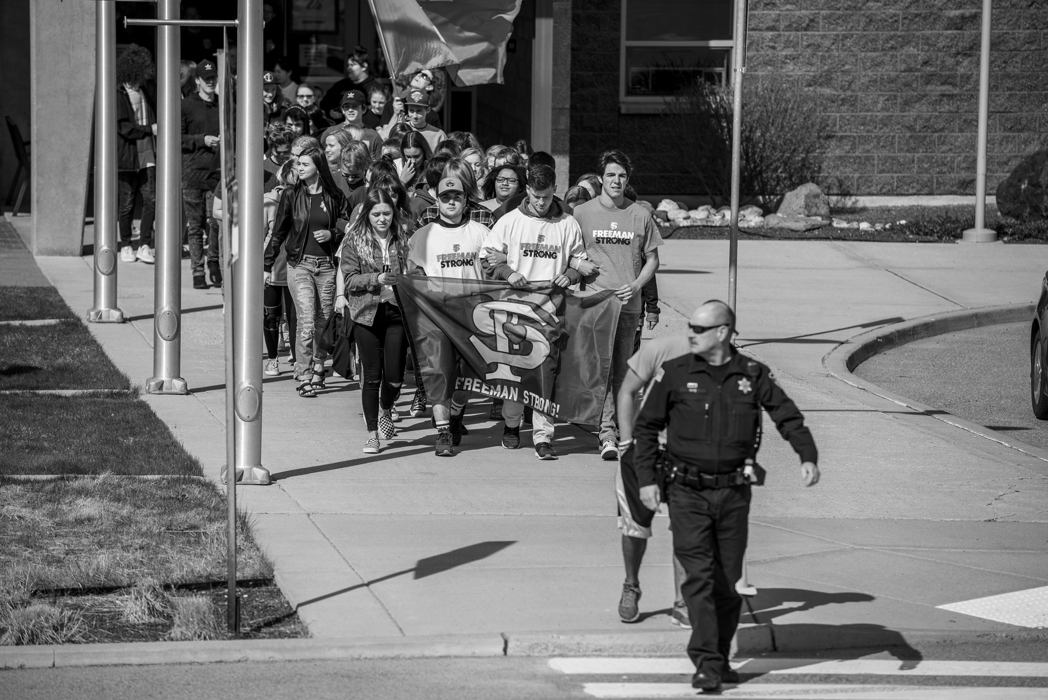 Freeman High School Walkout escorted by police