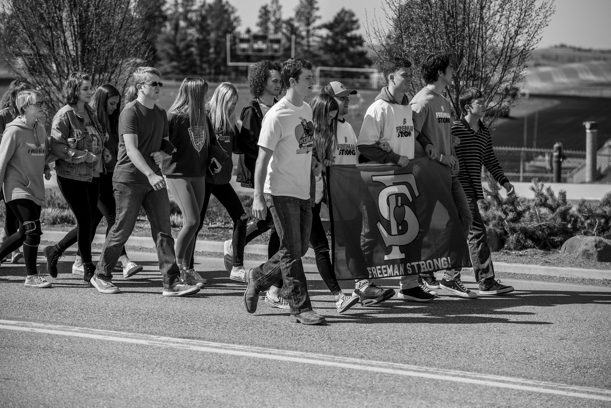 Freeman High School Walkout walking back to class