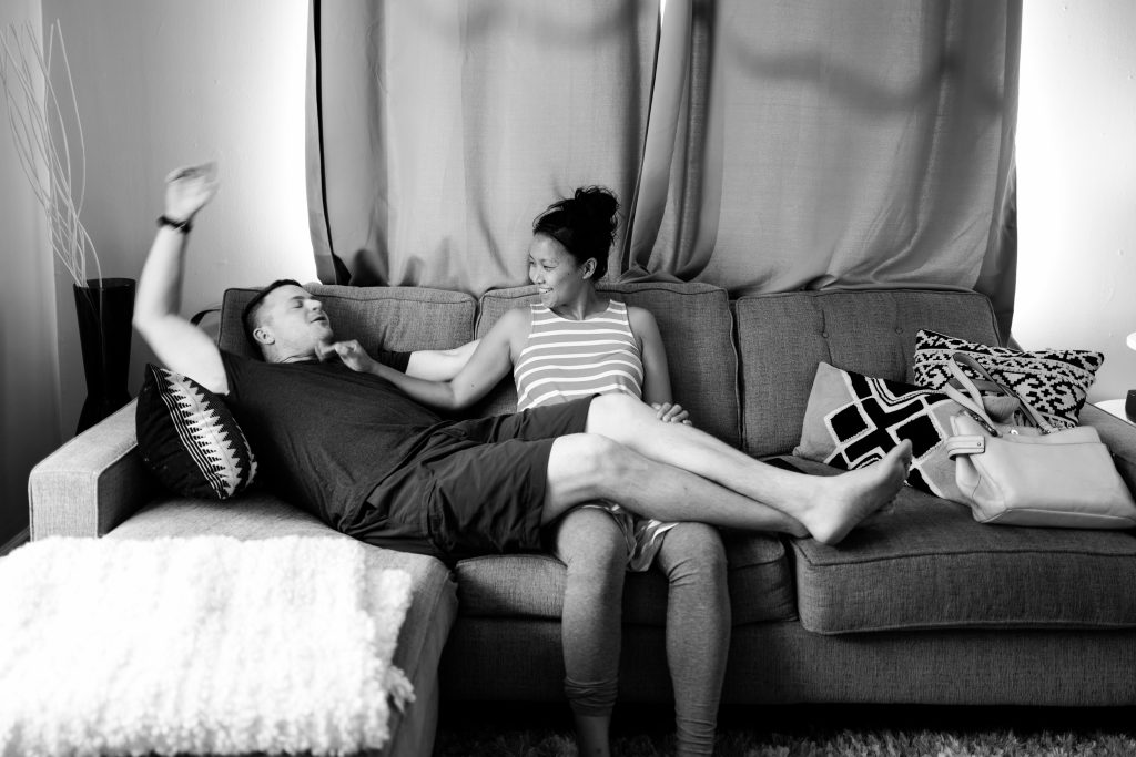 me and hubs on the couch