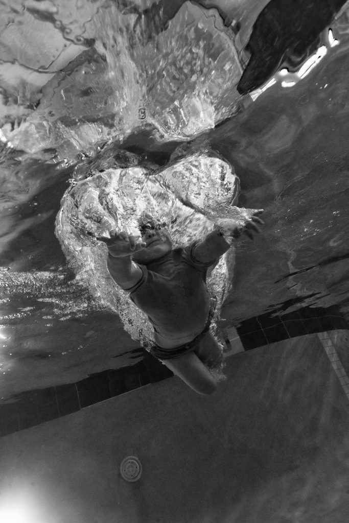 splash underwater black and white