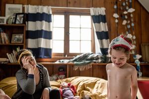 kid with underwear on his head