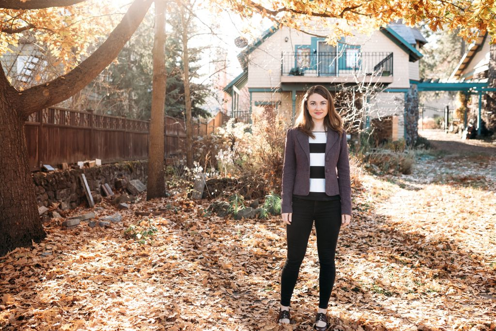 Mariah in her backyard overlooking Spokane Co-Housing