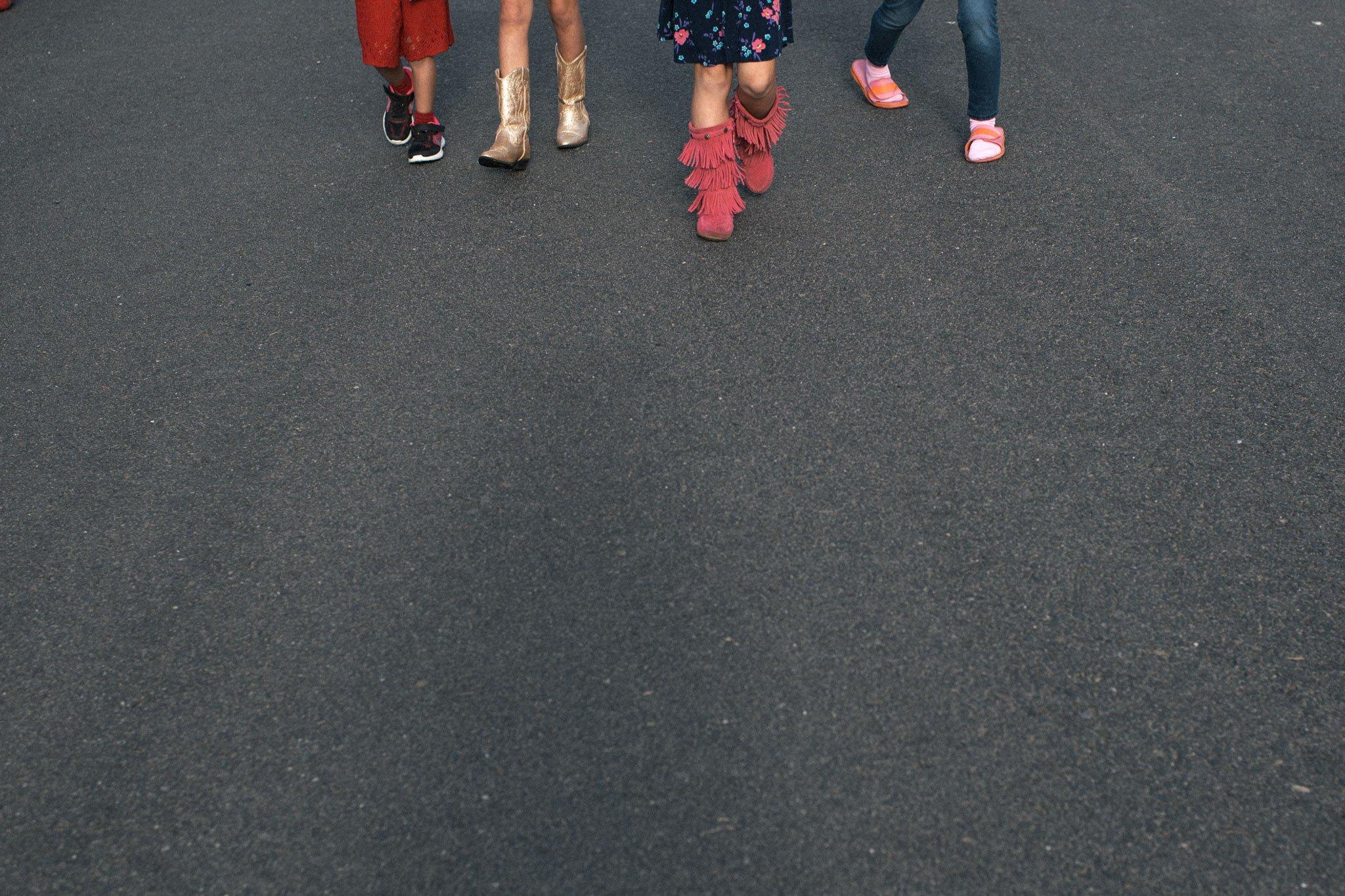 boy walking with girls