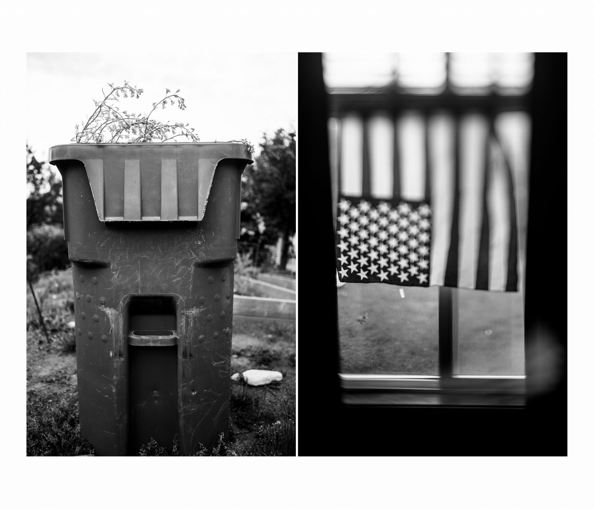 garbage and flag
