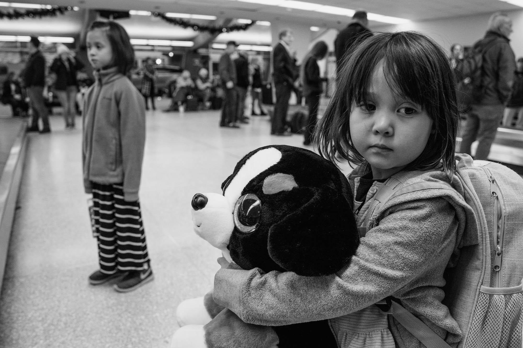 girls waiting at airport
