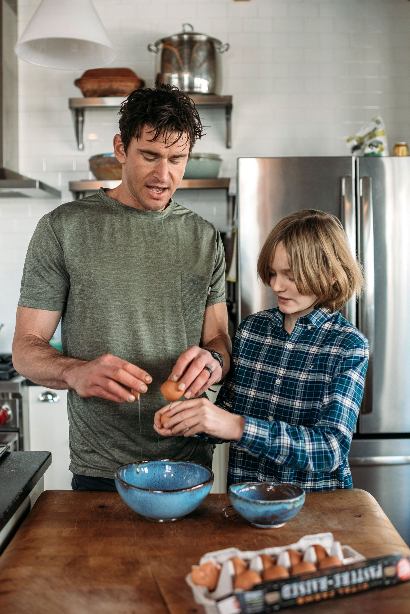 boy and dad cooking Ben Greenfield Spokane Photographer
