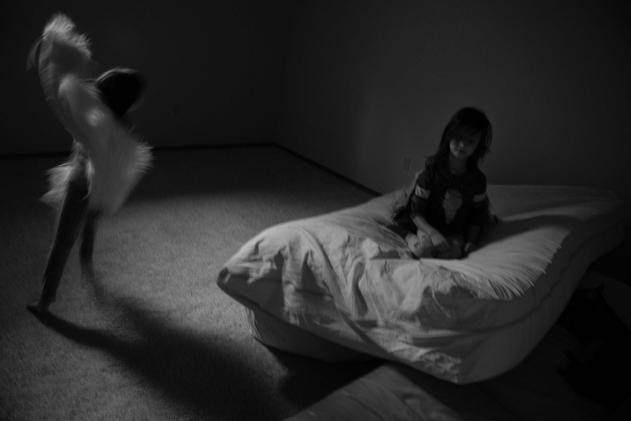 girls running around in basement