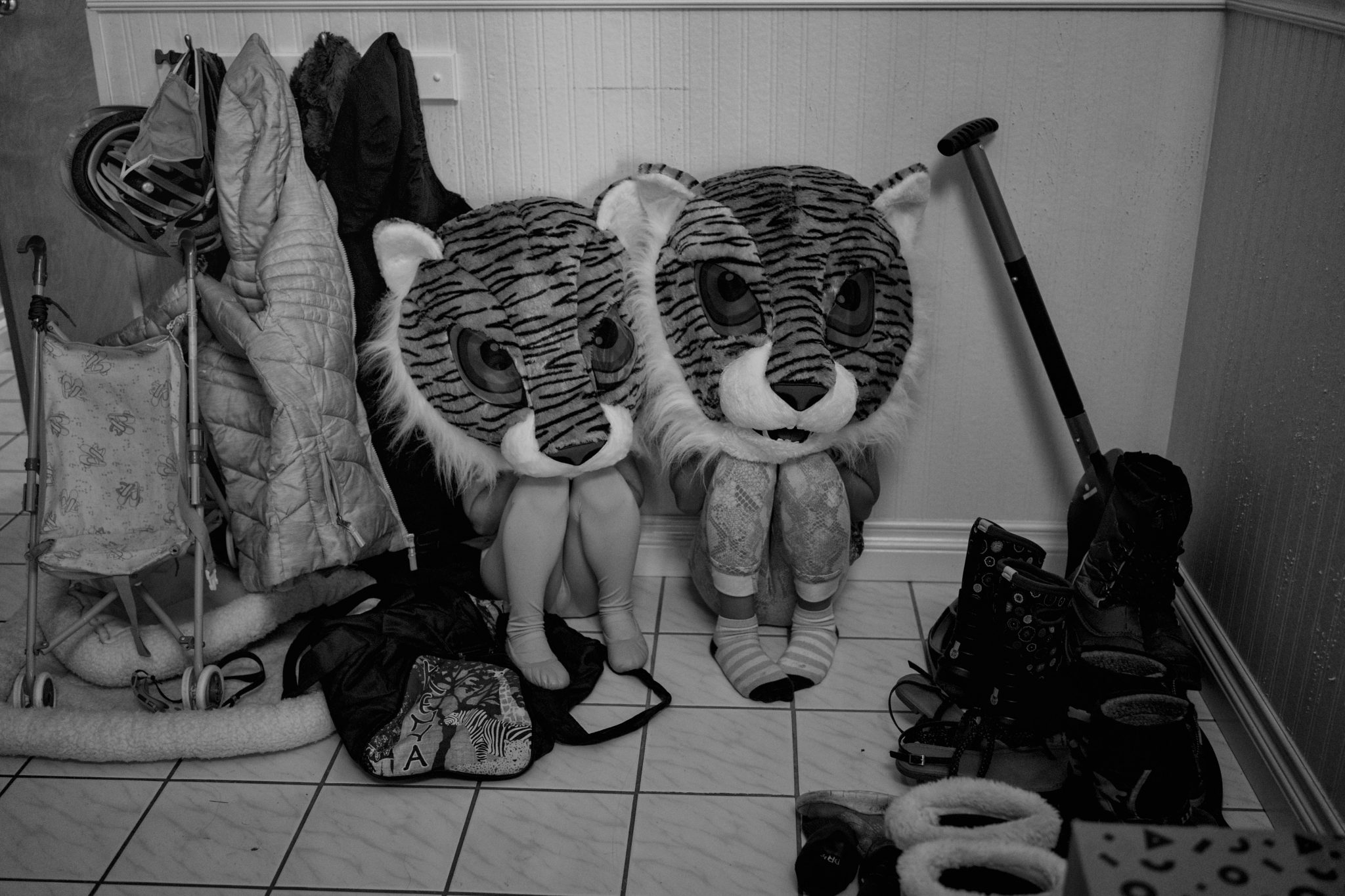 girls playing hide and seek as tigers