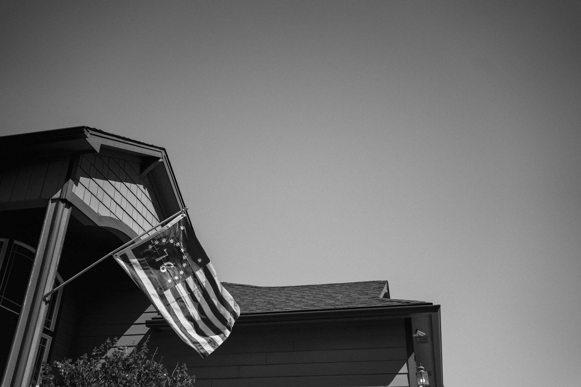 1776 flag waving in suburban home