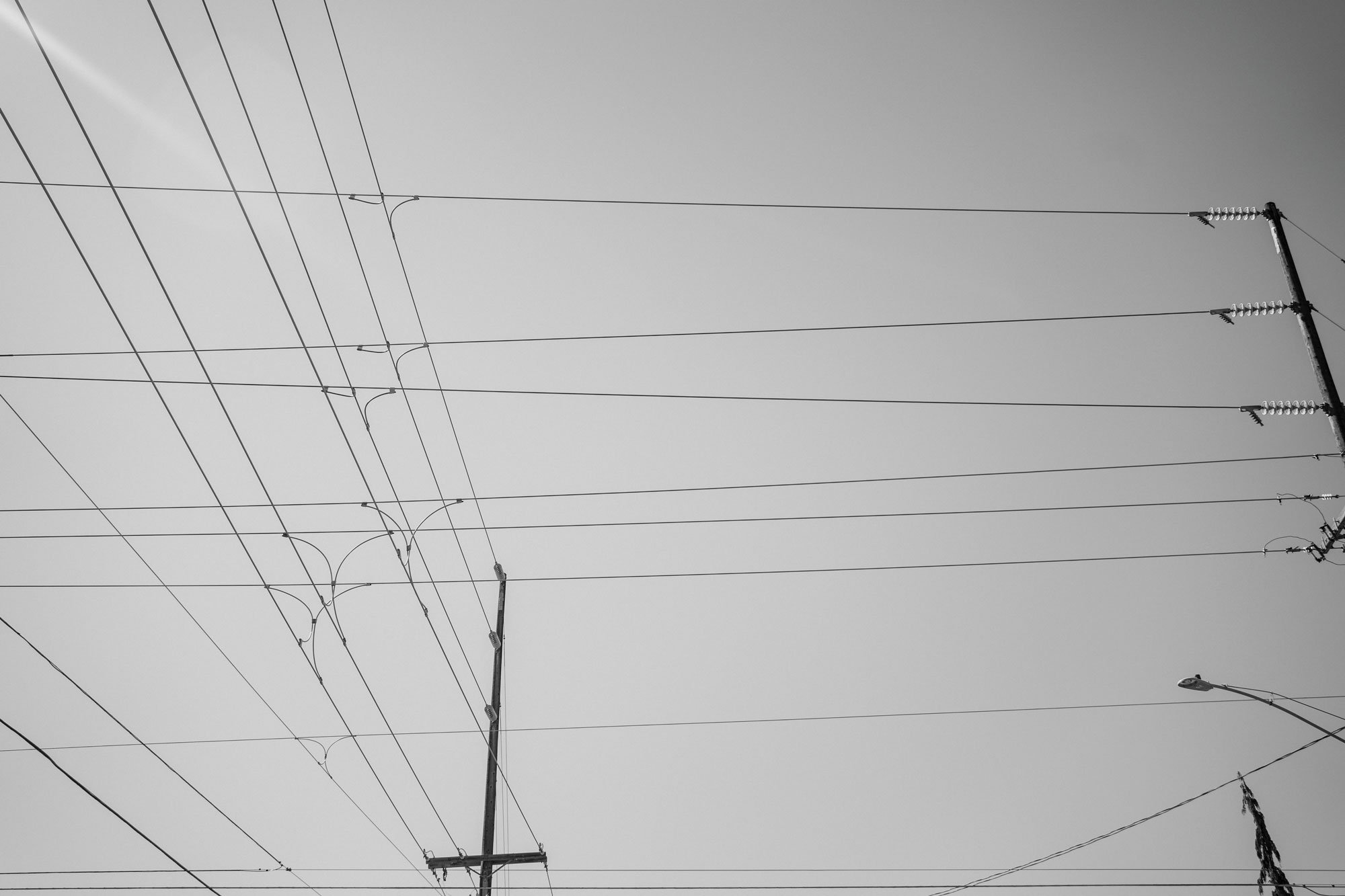 electrical wires in sky