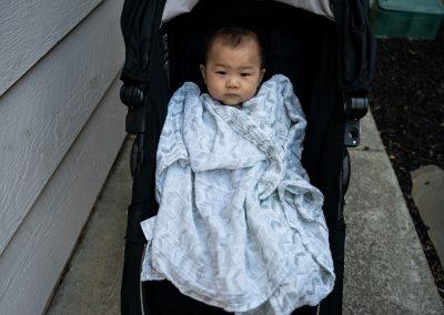 baby bundled up for walk
