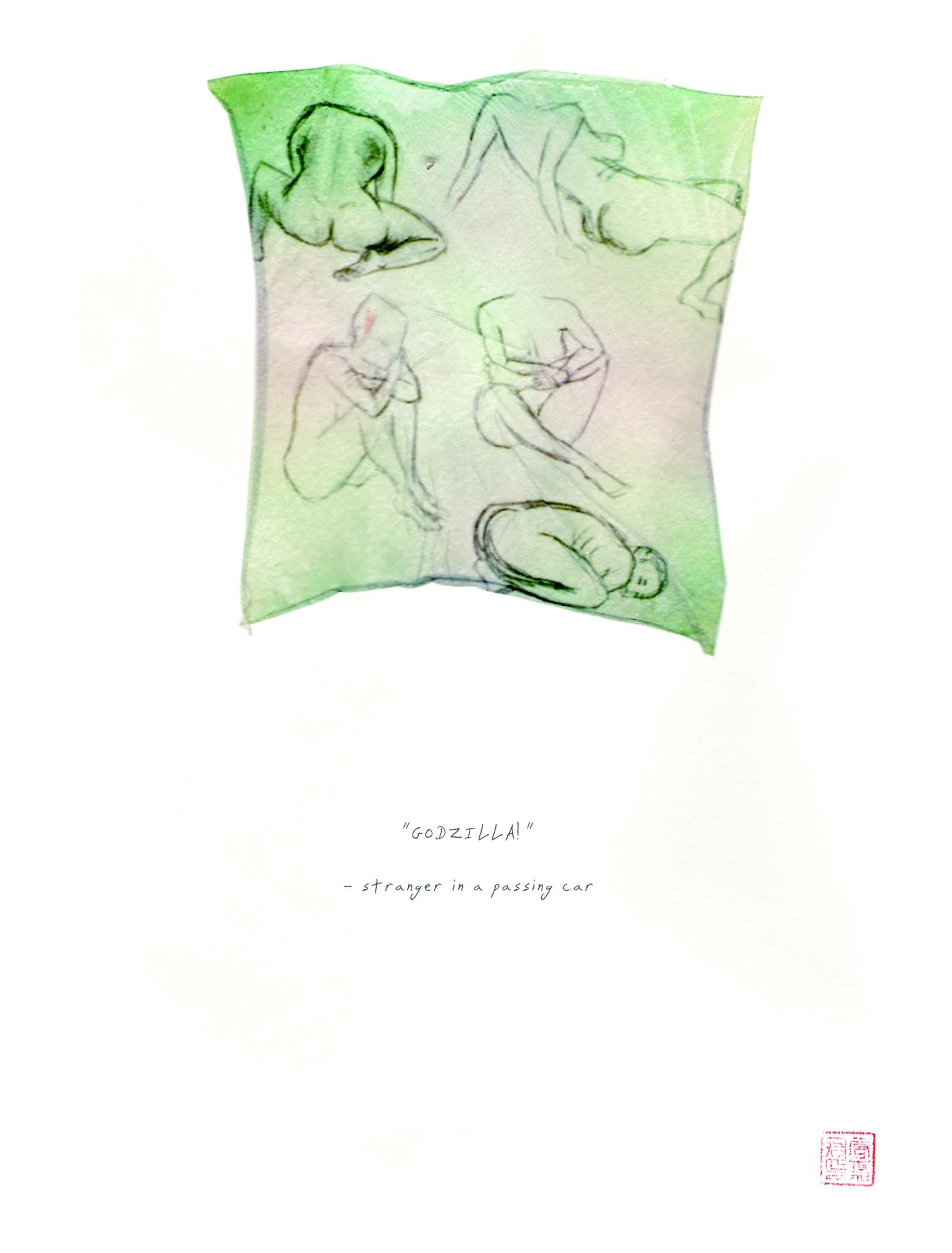 """polaroid emulsion of of artist sketches and word """"Godzilla"""""""
