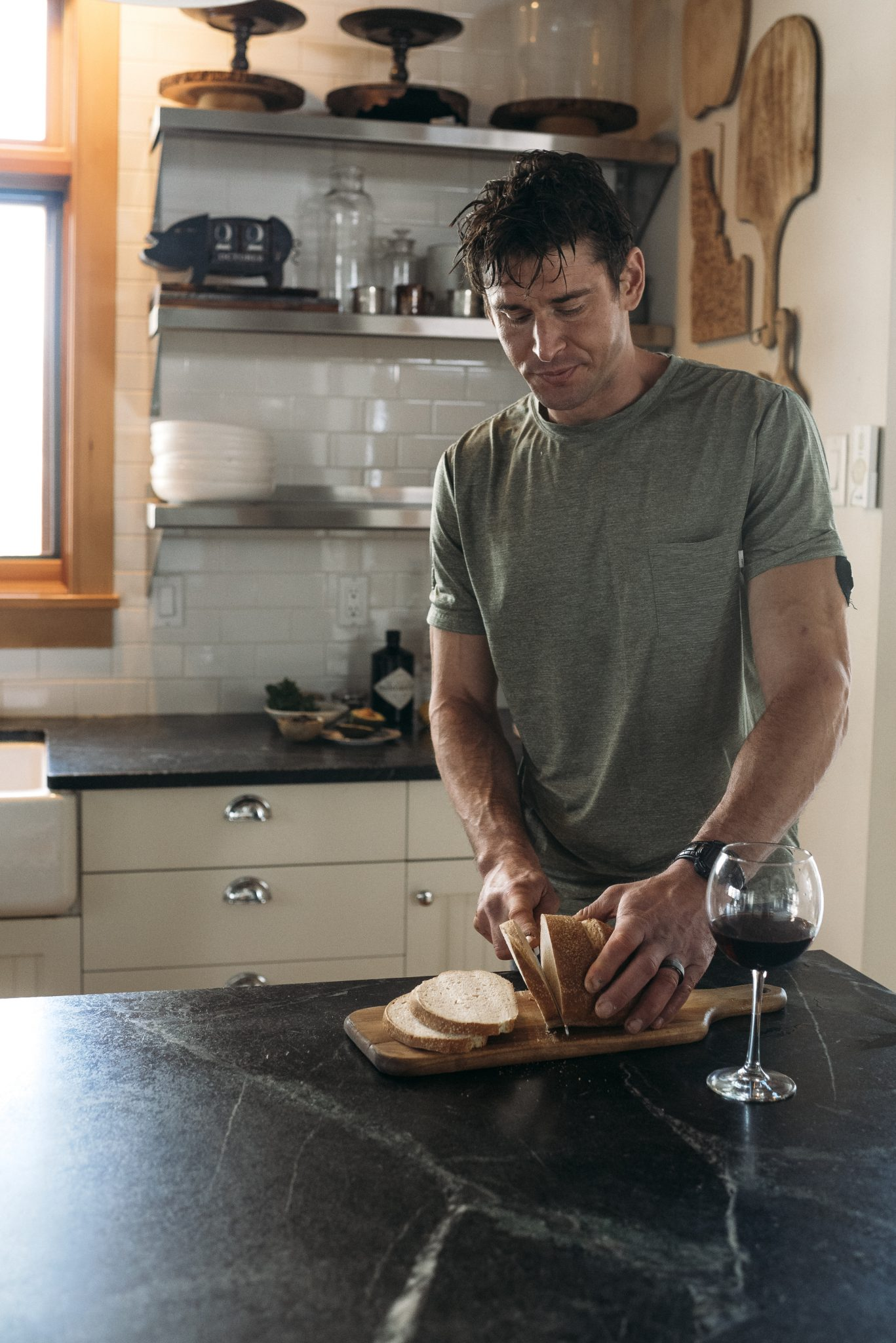 Ben cutting bread