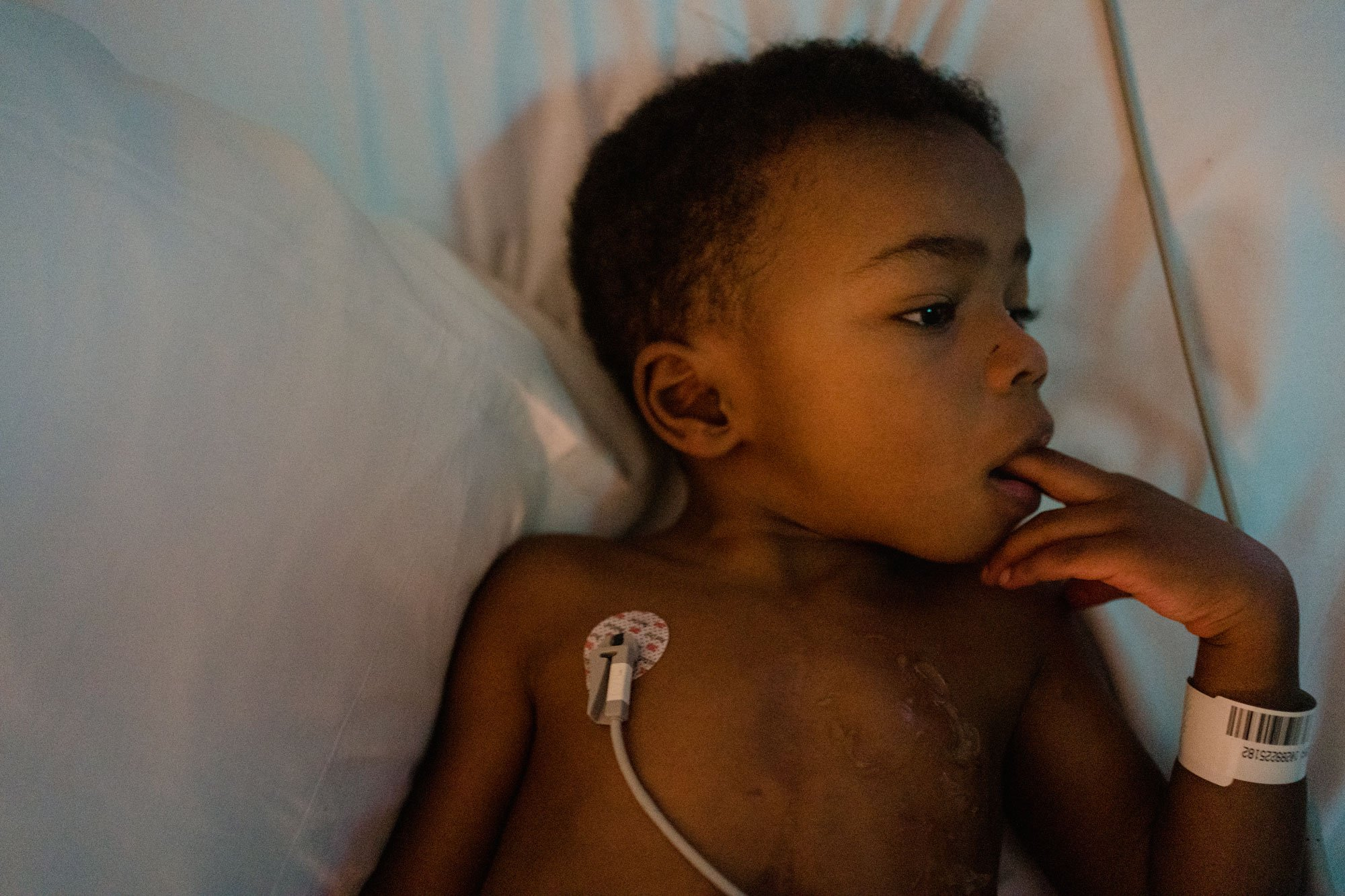boy watching his heart on monitor