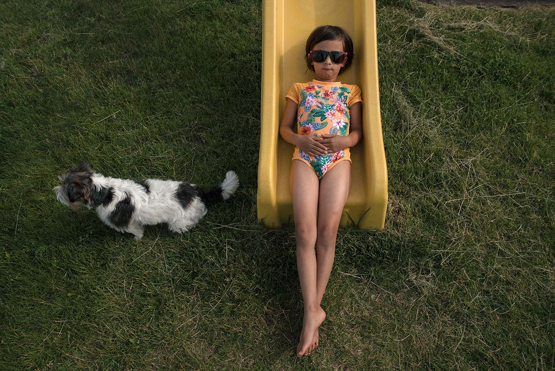 portrait of girl on slide