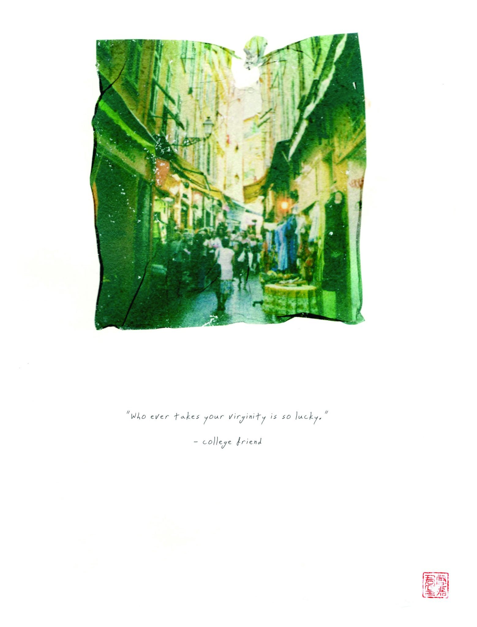 """polaroid emulsion of city and travel and words """"whoever takes your virginity is going to be so lucky"""""""