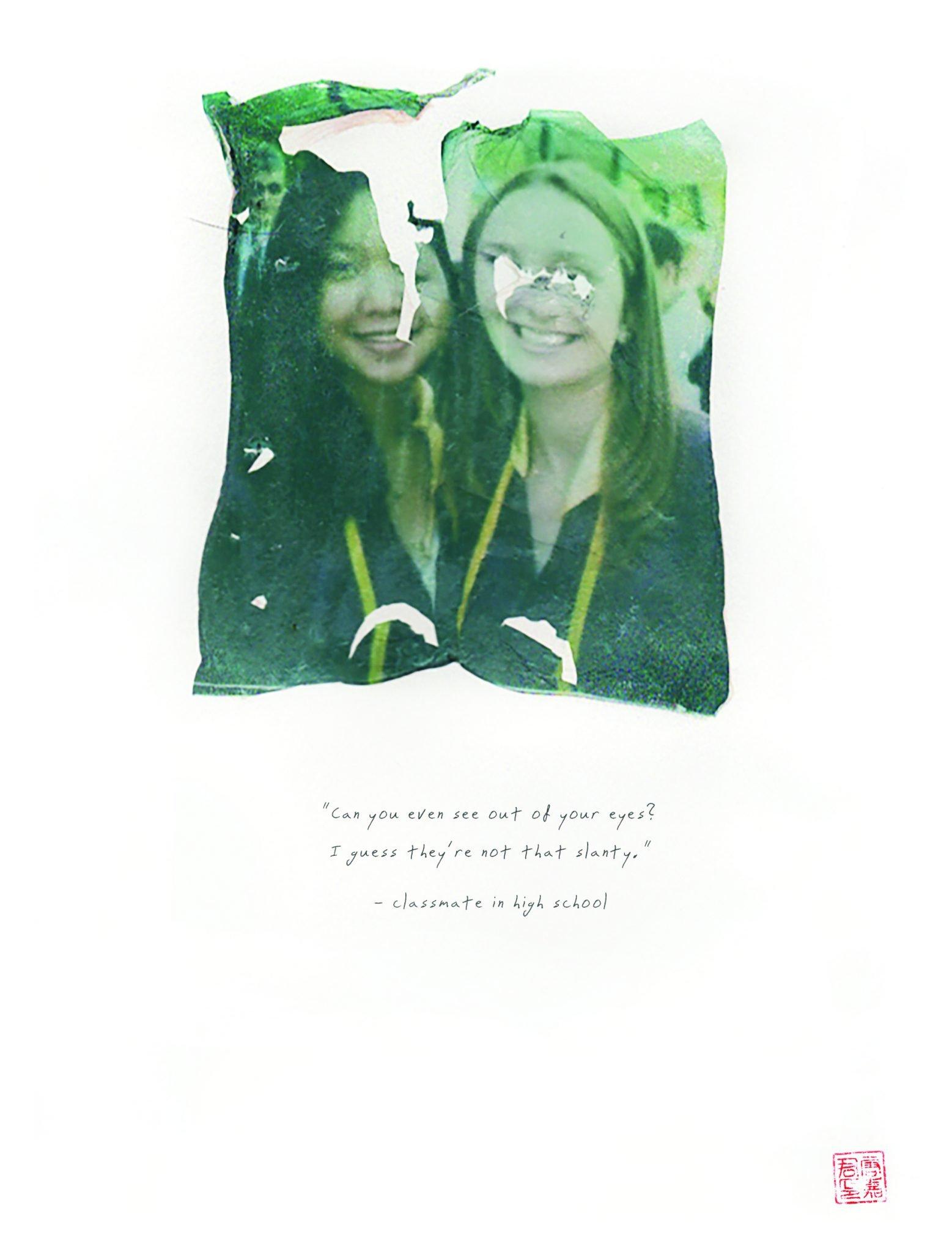 polaroid emulsion of girls at graduation