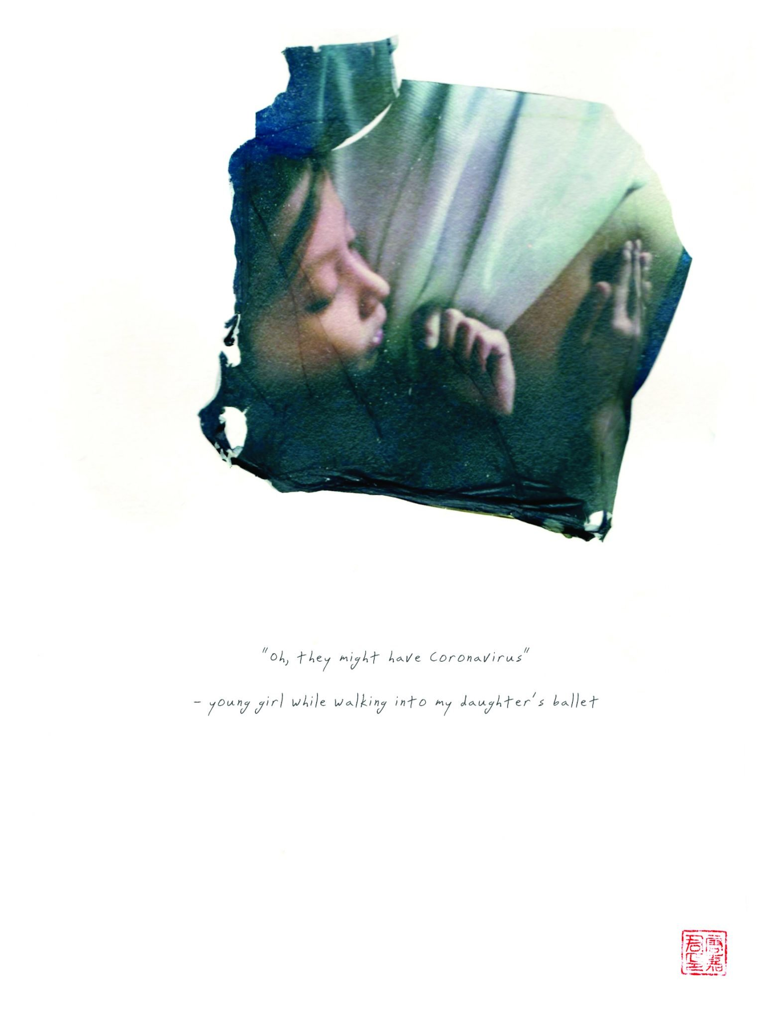 "polaroid emulsion of child hugging her mom and words, ""maybe she has coronavirus"""